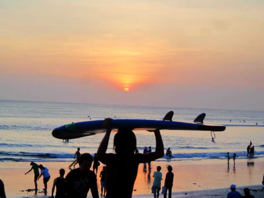 Surfing and sunsets on Kuta beach, Bali