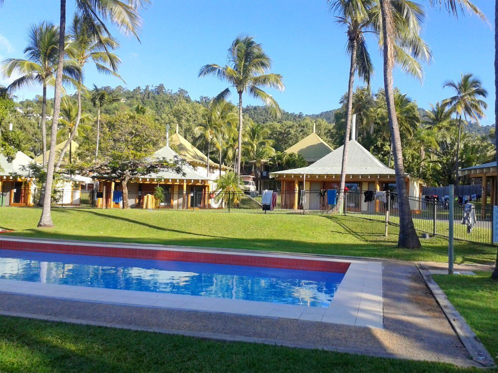 A hostel in Airlie Beach. Hostels in Australia are a good budget option, many even have swimming pools