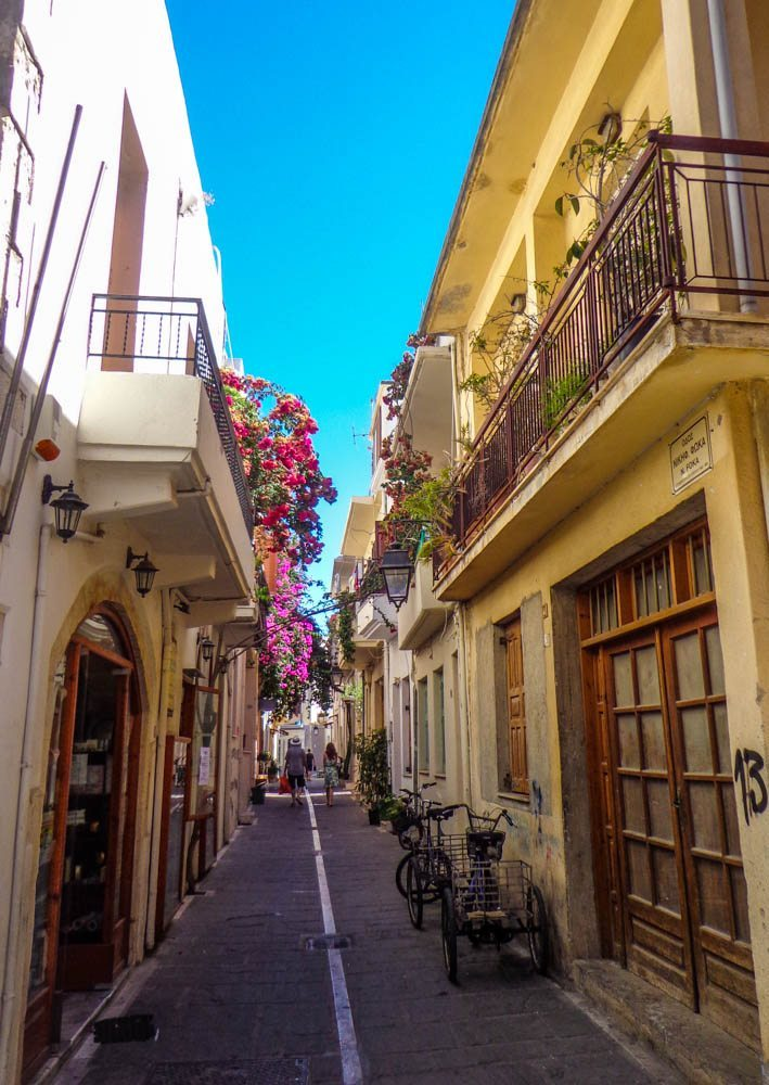 Quaint lanes in Rethymnon's historic town