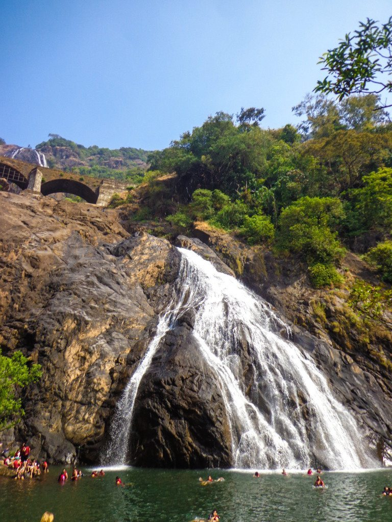 swimming in Dudhsagar waterfall