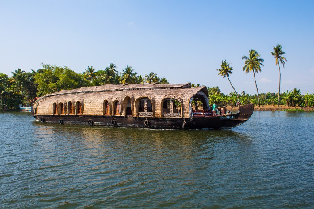 Cruising the backwaters in a house boat in Kerala