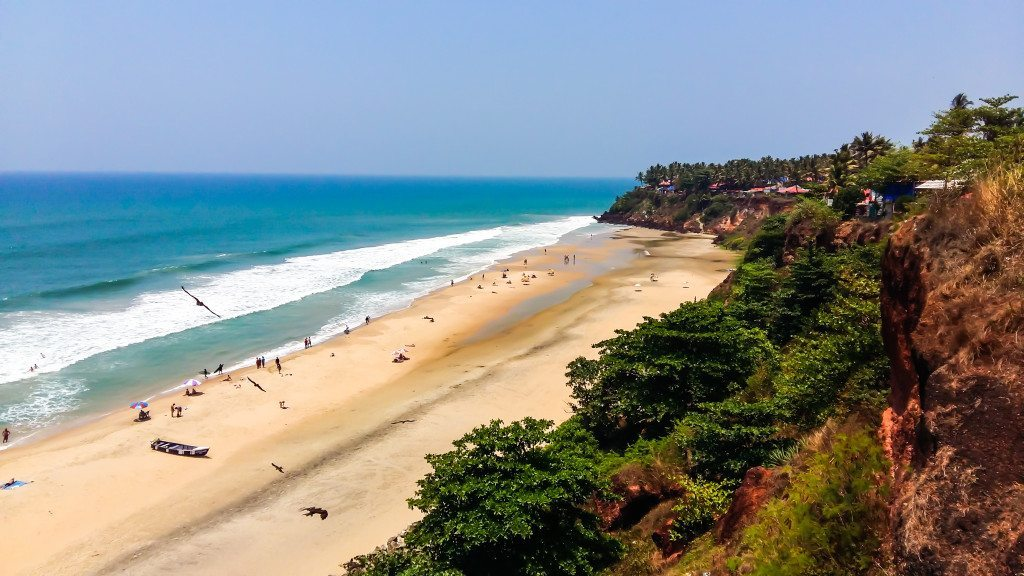 Looking down over the cliffs to stunning Varkala Beach