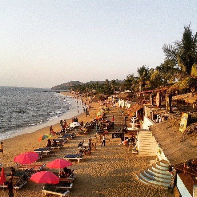 As the sun goes down the party starts up on Anjuna Beach