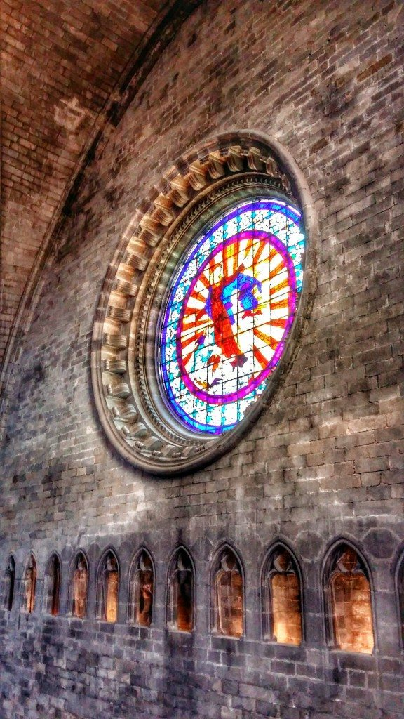 stained glass inside Girona cathedral