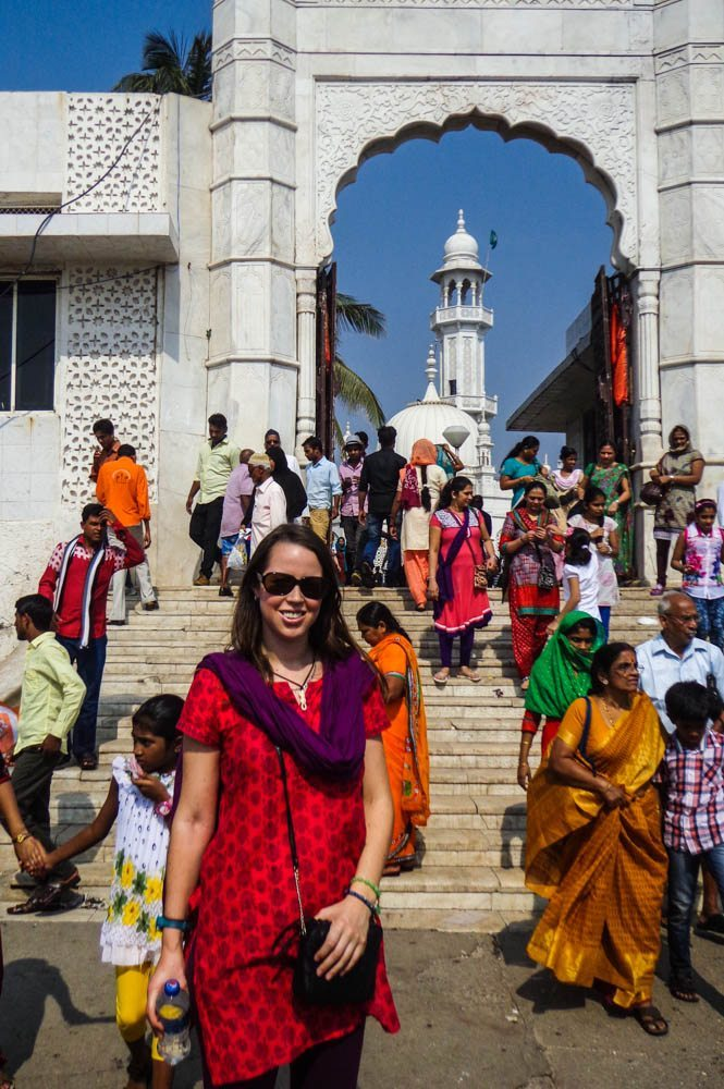 At the Haji Ali Mosque in Mumbai india travel tips