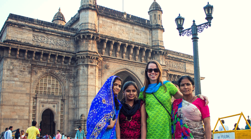 With local women at the Gateway of India in Mumbai