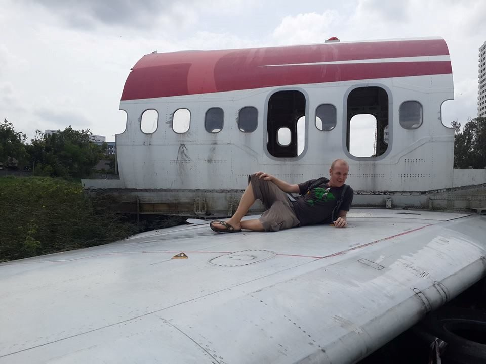 Ian exploring an airplane graveyard in Bangkok!