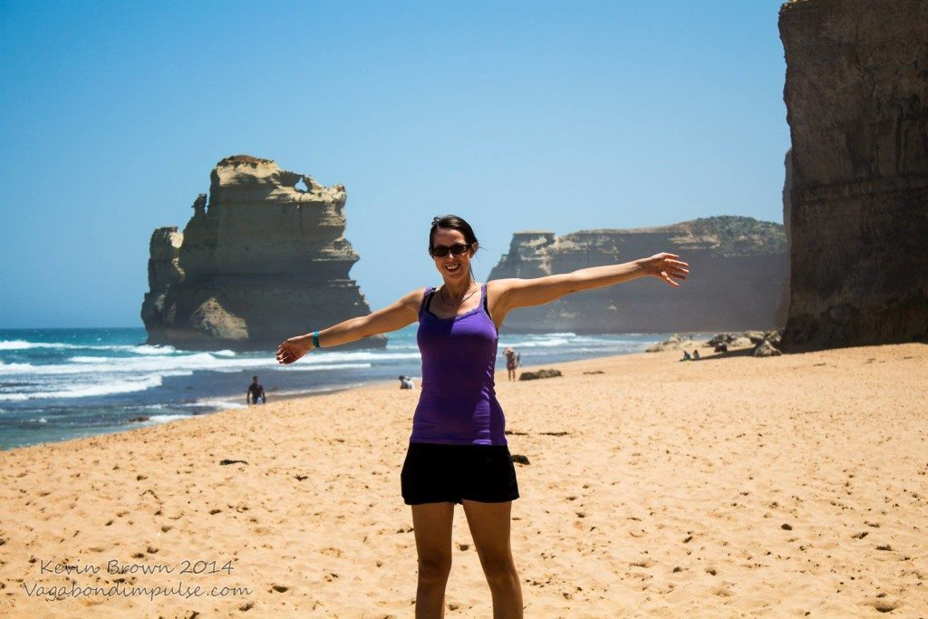 on the great ocean road beach during my working holiday in australia