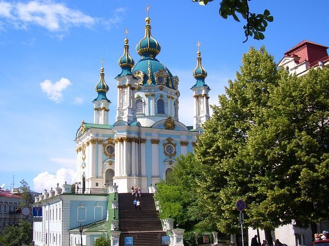 St Andrew's Church in Kiev. Ukraine is one of the cheapest places to travel in Europe