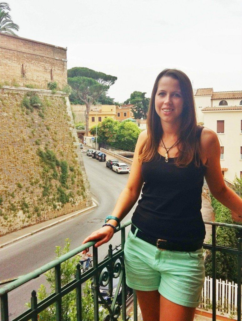 On our balcony in Rome with the Vatican walls behind me