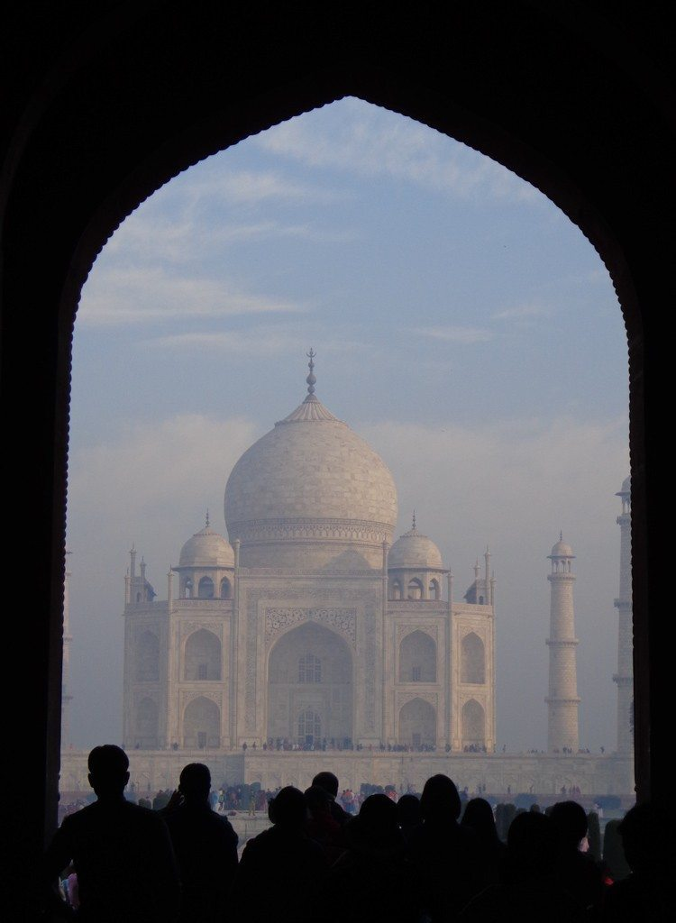 My first glimpse of the Taj Mahal through the arches of the gateway