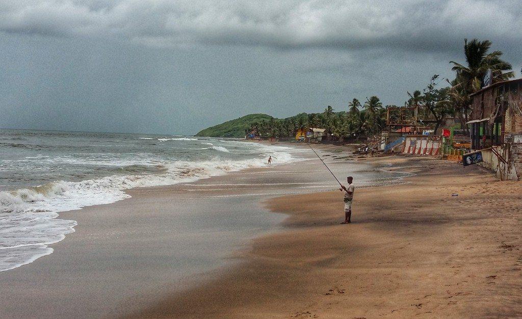 Deserted Anjuna beach in Goa in monsoon