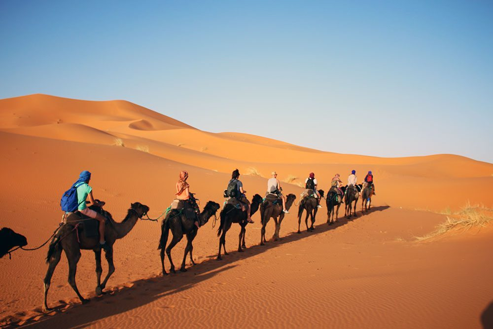 On Camel Safari in the Sahara, Morocco