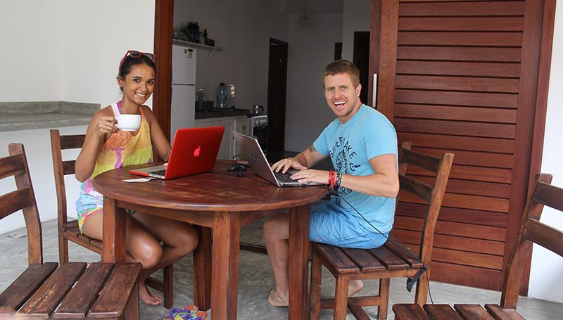 Working from our apartment in Pipa, Brazil