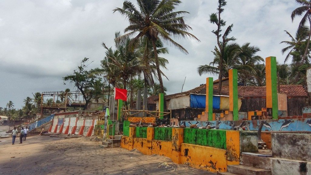 Beach shacks closed for monsoon season on Anjuna Beach, Goa