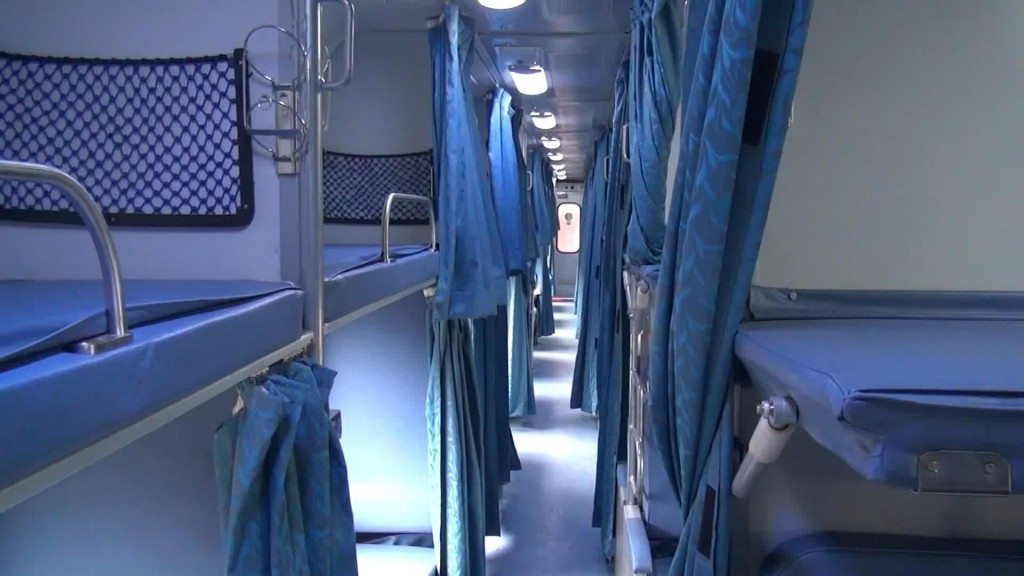An AC 2 Tier train carriage on Indian railways
