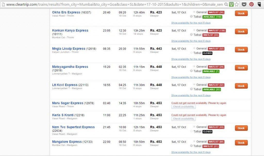 how to book train tickets in India on clear trip