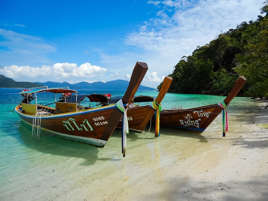 Colourful boats and beautiful beaches in Thailand