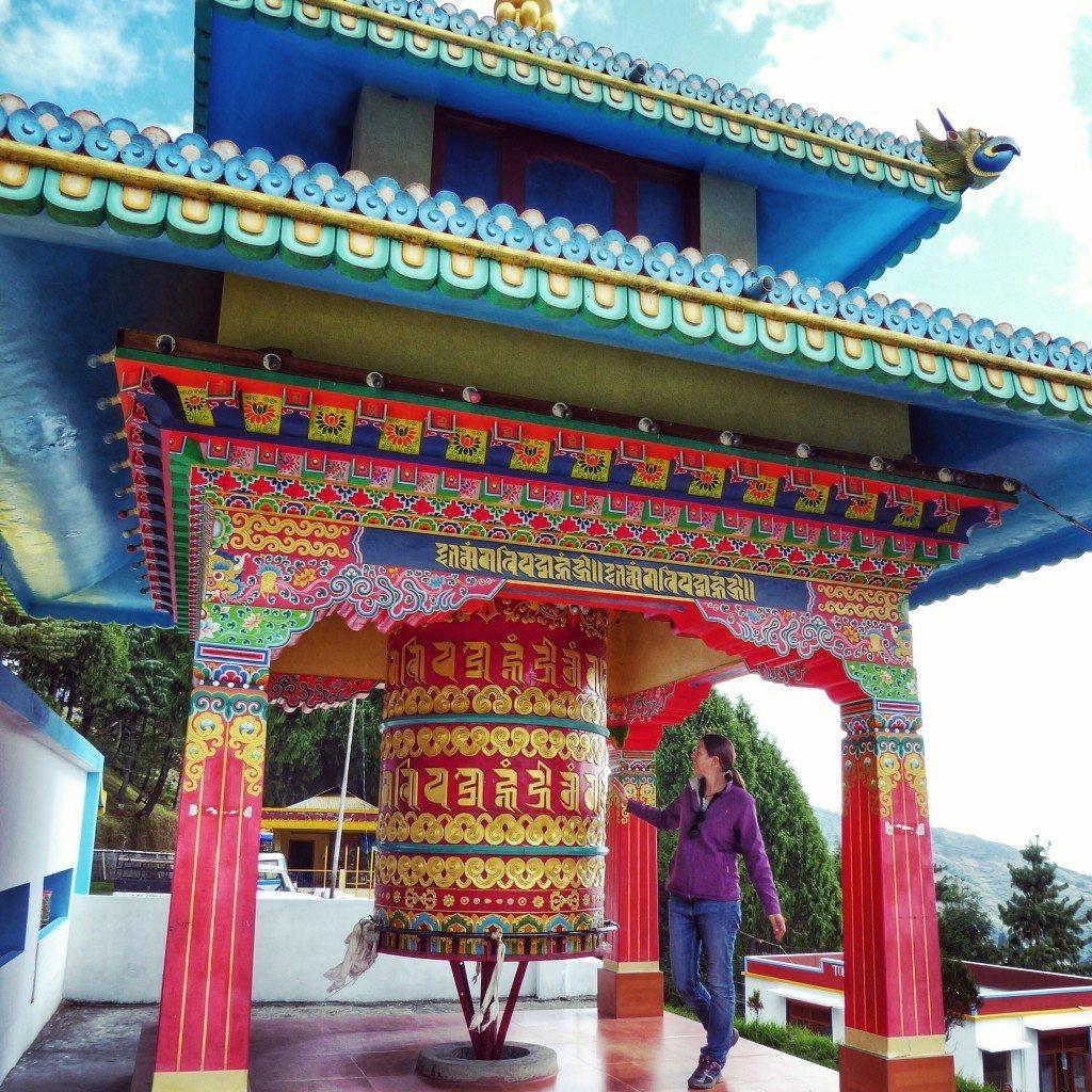 huge colourful Tibetan prayer wheel