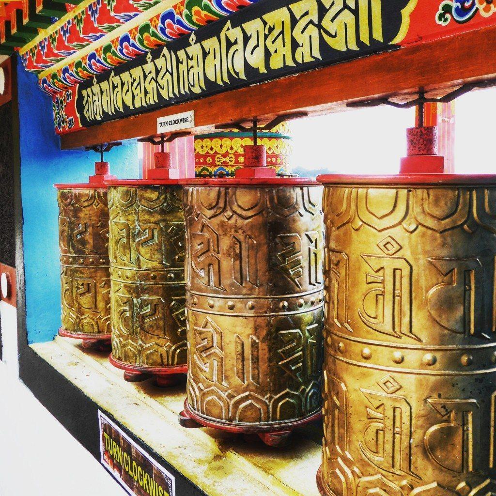 colourful Tibetan prayer wheels