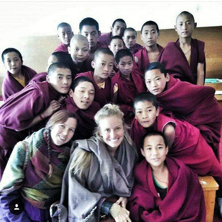 selfie with monks at Tawang monastery, Arunachal Pradesh, India