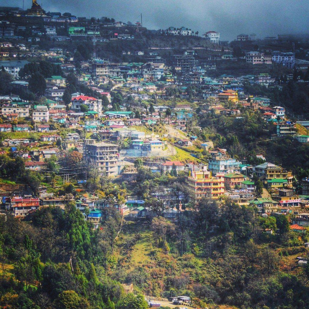 views over the town of Tawang in Arunachal Pradesh