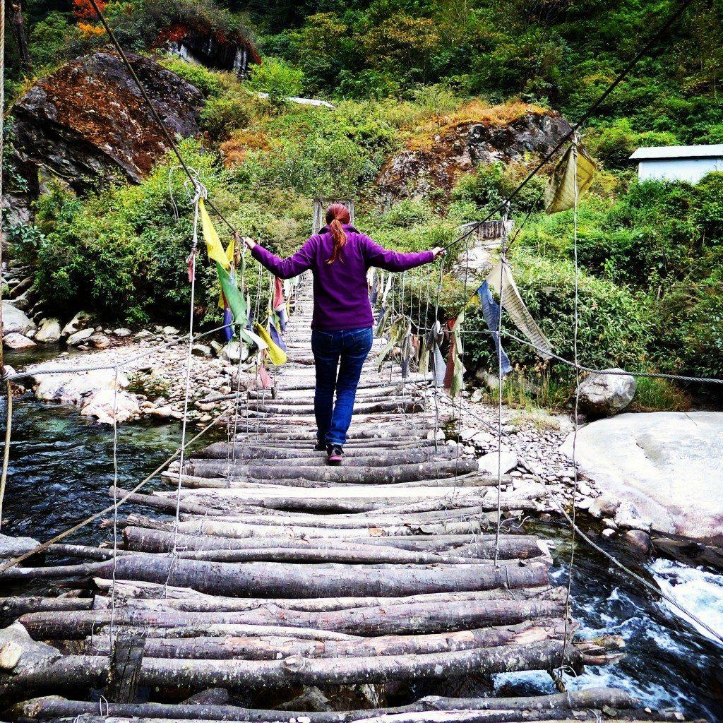rickety bridge crossing in Tawang, Arunachal Pradesh