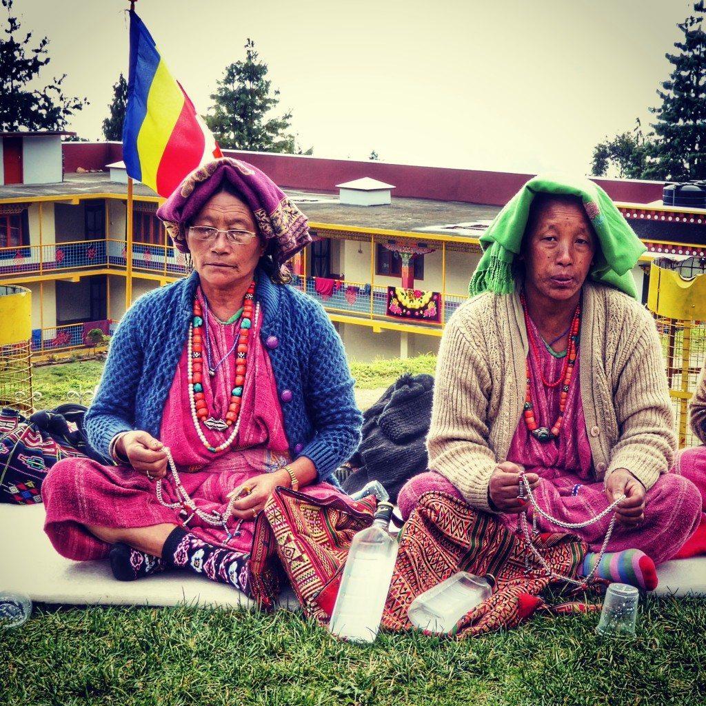 monpa women outside the Gontse Gaden Rabgyel Lling Monastery or GRL monastery in Bomdila