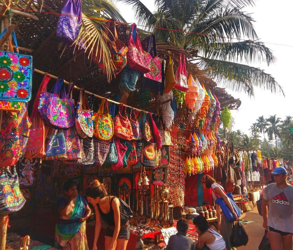 Colourful stalls at Anjuna Flea Market in Goa, India
