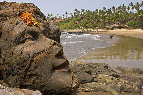 The Shiva Carved Into A Rock On Vagator Beach Goa
