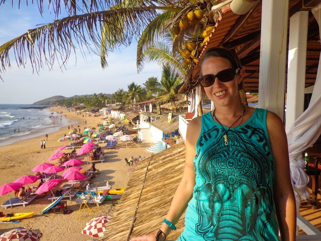 In one of my favourite beach shacks on Anjuna Beach, Goa