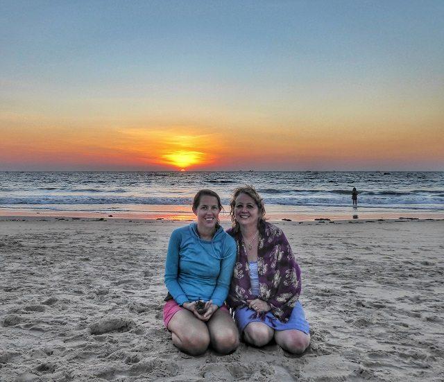 Mum and me enjoying those famous Goan sunsets
