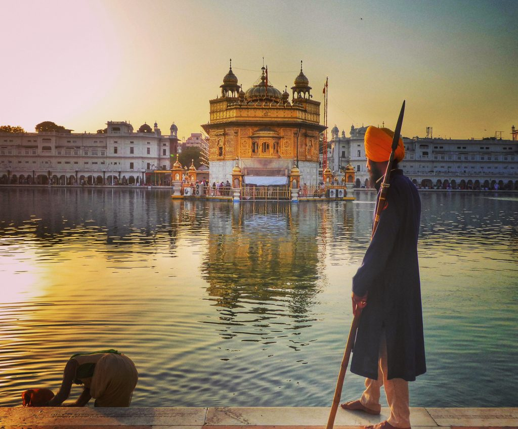 sunset at the golden temple