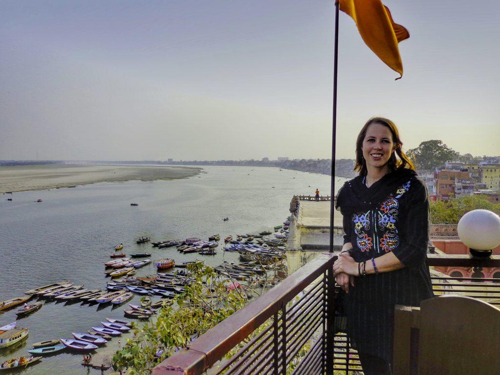 In Varanasi overlooking the river Ganges