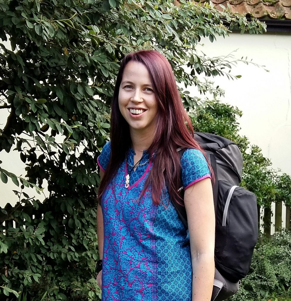 I think this was taken when I was leaving for the airport for my 2nd trip  to India. I'm so pale! The Kurta (top) is from India and this is my old  backpack ...